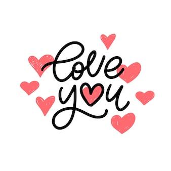 Je T'aime. Slogan De La Saint-valentin. Lettrage De Brosse Moderne Manuscrite. Vecteur Premium