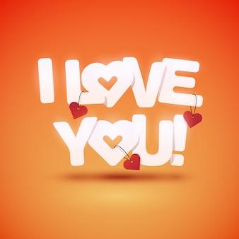Je T'aime Texte Avec Des Coeurs. Illustration. Vecteur Premium