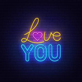 Je t'aime texte néon