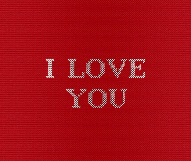 Je t'aime tricoté fond rouge de la saint-valentin,