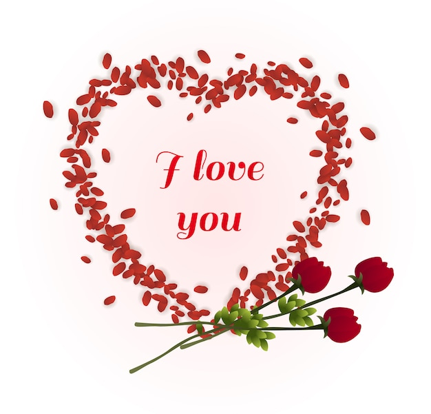 Je t'aime typographie à l'intérieur du cadre de pétales de coeur