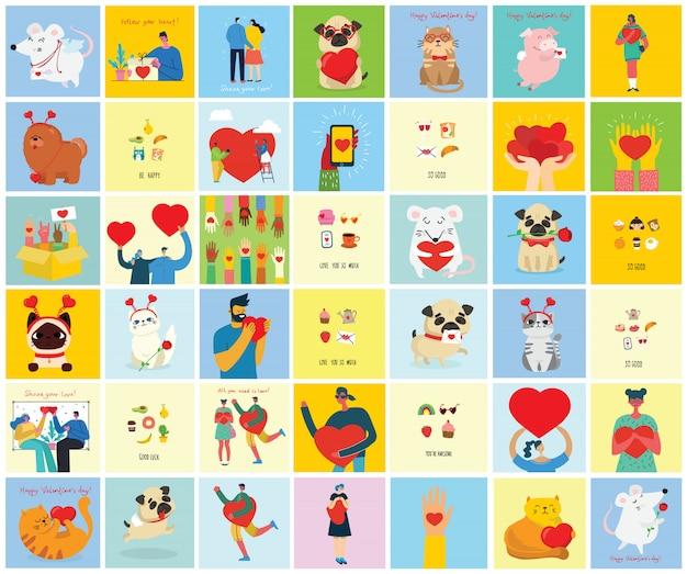 Je vous aime tellement. valentin doodle dessiné à la main logo pré-fait en style cartoon et design plat.