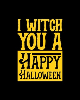 Je vous sorcier un joyeux halloween. typographie dessinée à la main