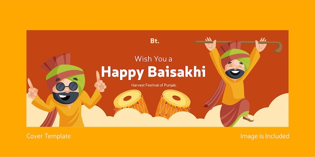 Je vous souhaite un joyeux modèle de conception de couverture facebook baisakhi