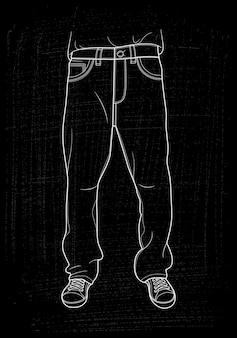Jeans dessinés à la main.
