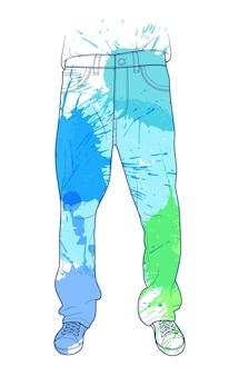 Jeans hommes vector illustration dans le style de ligne avec des taches de peinture