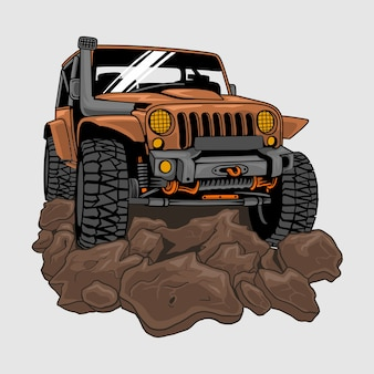 Jeep tout-terrain sur la saleté ou la boue, illustration