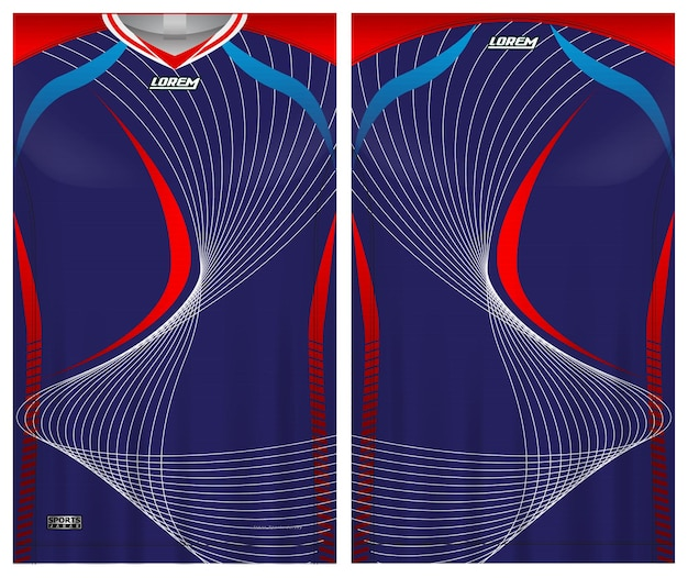 Jersey de football, tissu de modèle de vue avant et arrière uniforme