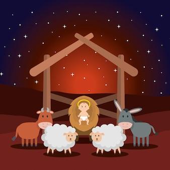 Jésus bébé dans l'écurie avec des moutons et des animaux