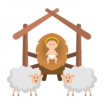 Jésus bébé dans l'écurie avec des moutons