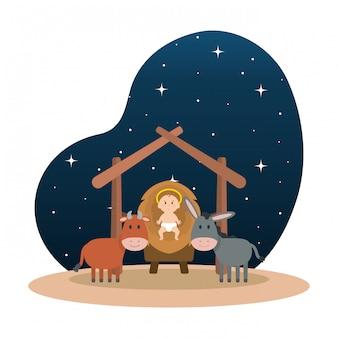 Jésus bébé dans l'écurie avec mule et bœuf