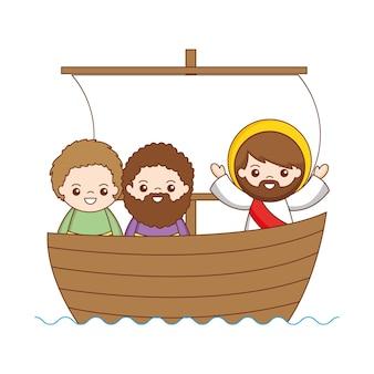 Jésus avec caricature de disciples dans le bateau. illustration vectorielle