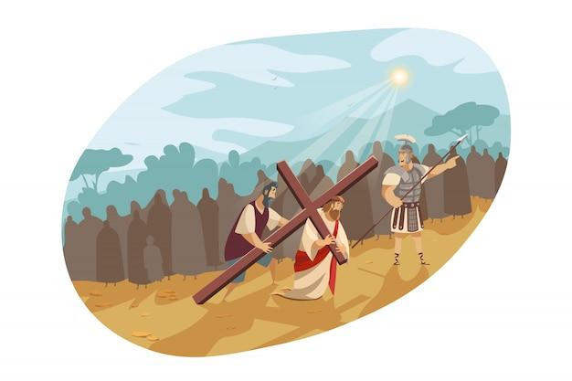 Jésus christ, sur, chemin croix, bible, concept