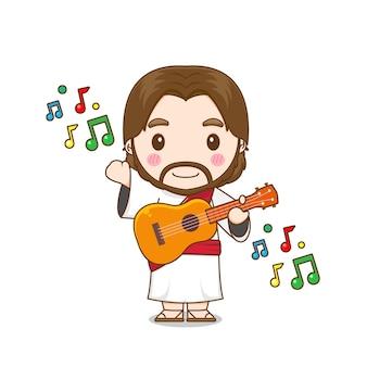 Jésus christ jouant de la guitare