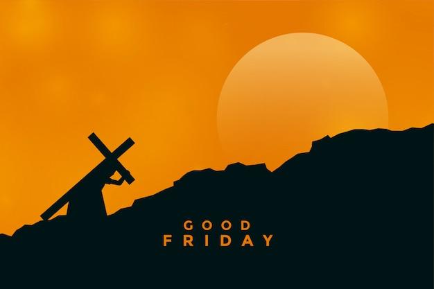 Jésus christ portant une croix pour sa crucifixion