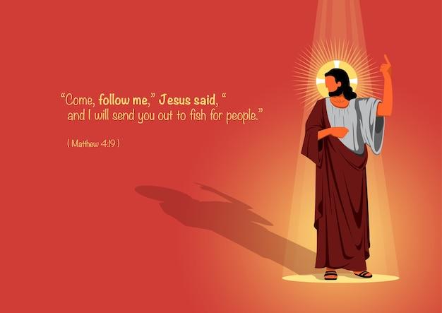 Jésus avec une citation biblique