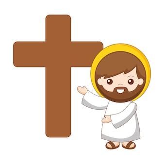 Jésus et croix cartoon isolé sur fond blanc. illustration vectorielle