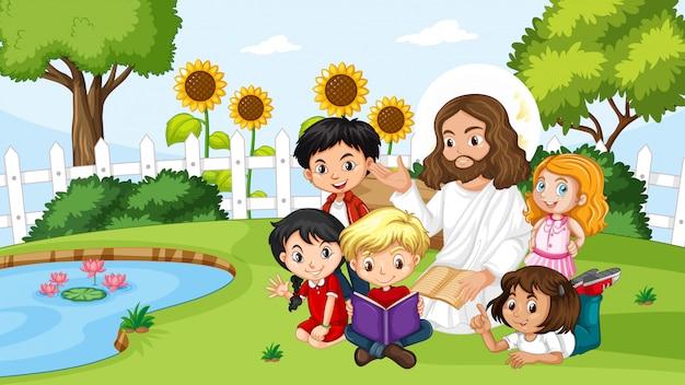 Jésus avec des enfants dans le parc
