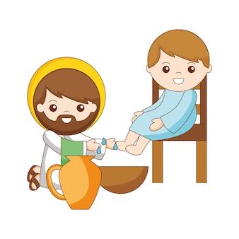Jésus lave les pieds de son dessin animé de disciples. illustration vectorielle