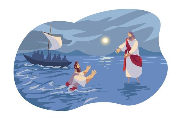 Jésus marche sur l'eau, concept de la bible