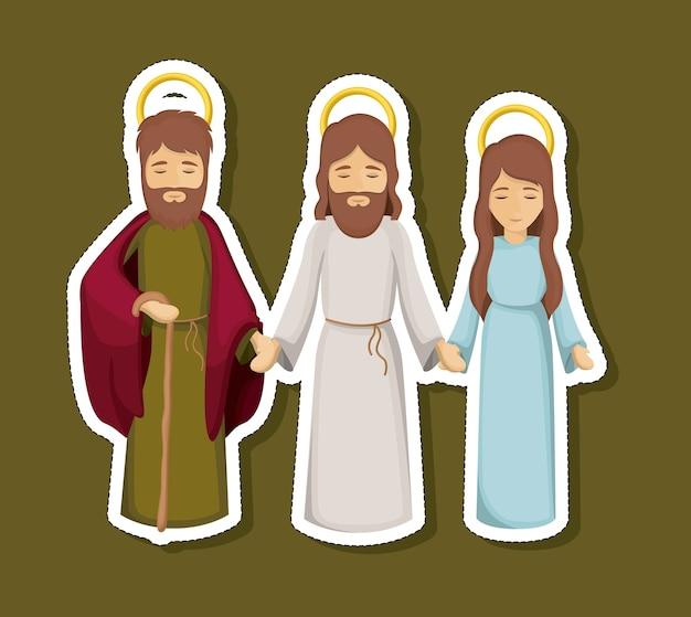 Jesus mary et joseph icône de dessin animé