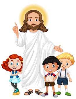 Jésus avec un personnage de dessin animé de groupe d'enfants