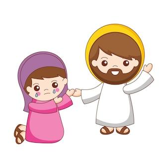 Jésus sauve et pardonne le dessin animé de maria magdalena. illustration vectorielle