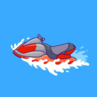 Jet ski bateau cartoon vector icon illustration. concept d'icône d'objet de transport isolé vecteur premium. style de dessin animé plat