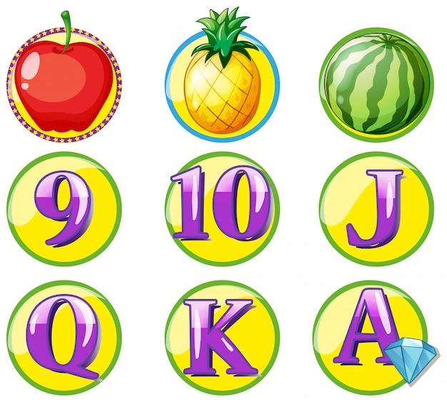 Jeton de jeu avec fruits et chiffres