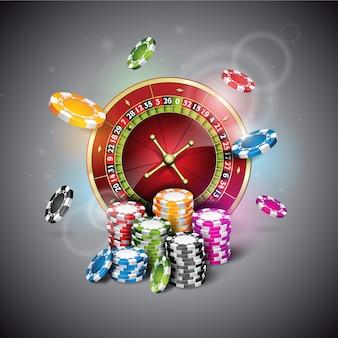 Jetons de casino et fond de roulette