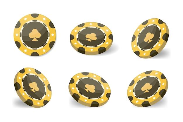 Jetons de casino pour le poker ou la roulette. 3d réaliste. illustration vectorielle isolée sur fond blanc.