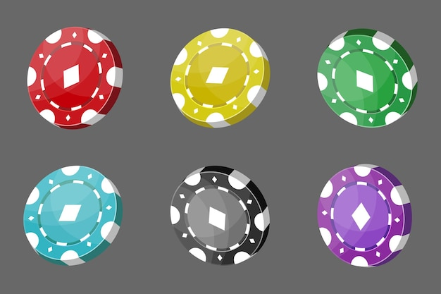 Jetons de casino pour le poker ou la roulette. éléments pour concevoir le logo, le site web ou l'arrière-plan. illustration vectorielle.