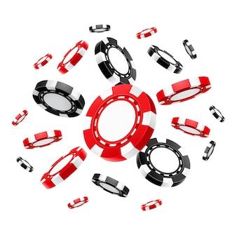 Jetons de casino volants réalistes ou argent de jeu pour le poker ou le blackjack, la roulette.