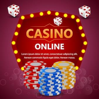 Jetons colorés de jeu de jeu en ligne de casino et dés de poker