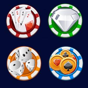 Jetons de couleur d'icône de poker