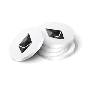 Jetons De Crypto-monnaie Ethereum Vecteur Premium