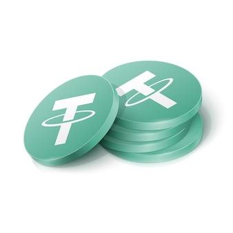 Jetons De Crypto-monnaie Tether Vecteur Premium