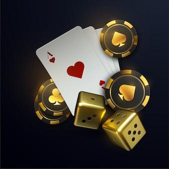 Jetons de poker 3d tombant et cartes à jouer avec effet flou. illustration