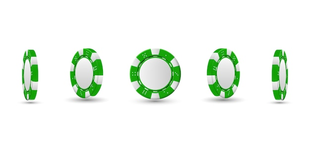 Jetons de poker dans une position différente. copeaux verts isolés. illustration vectorielle.
