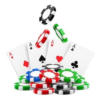D jetons réalistes tombant sur une pile ou un tas de jetons de jeu réalistes et de cartes à jouer as de