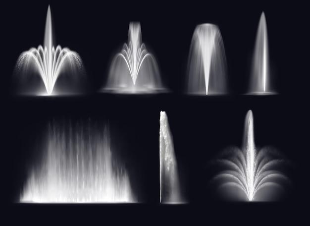 Jets De Fontaines Ou Geysers D'eau Vecteur Premium