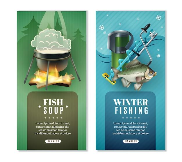 Jeu de 2 bannières verticales pour la pêche en hiver