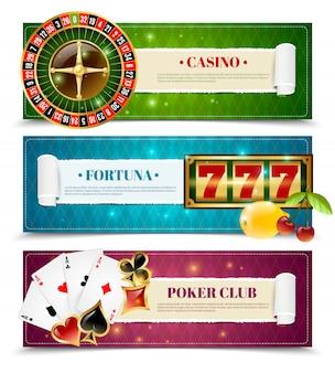 Jeu de 3 bannières horizontales casino