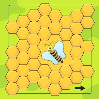 Jeu d'abeilles et de nids d'abeilles pour les enfants d'âge préscolaire. aidez l'abeille à traverser le labyrinthe. jeu de labyrinthe amusant pour les enfants