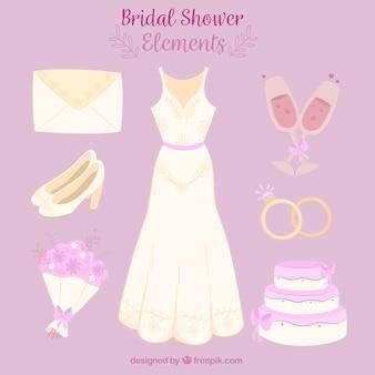 Jeu d'accessoires féminins pour les mariages