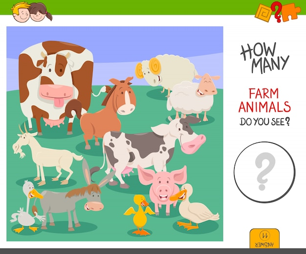 Jeu d'activité comptez les animaux de la ferme