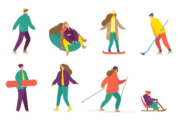 Jeu d'activités d'hiver isolé sur blanc vector illustration homme femme personnage skate luge ski out...