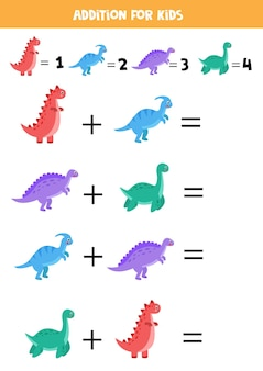 Jeu d'addition avec différents dinosaures jeu de mathématiques éducatif pour les enfants