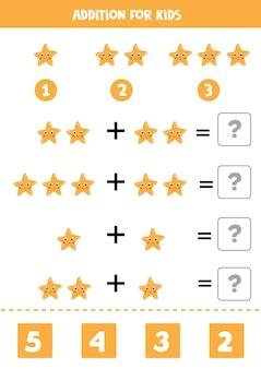Jeu d'addition avec un jeu de mathématiques mignon dessin animé étoile de mer pour les enfants