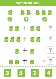 Jeu d'addition avec un jeu de mathématiques mignon de grenouille de bande dessinée pour les enfants